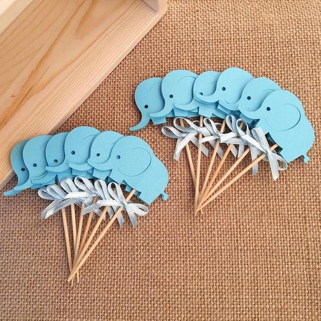Nouveau Arc & Bleu Éléphant Double-Face Gâteau Toppers, Bébé Douche pour Garçon Fête D'anniversaire Décoration Faveurs Gâteau décorations Picks