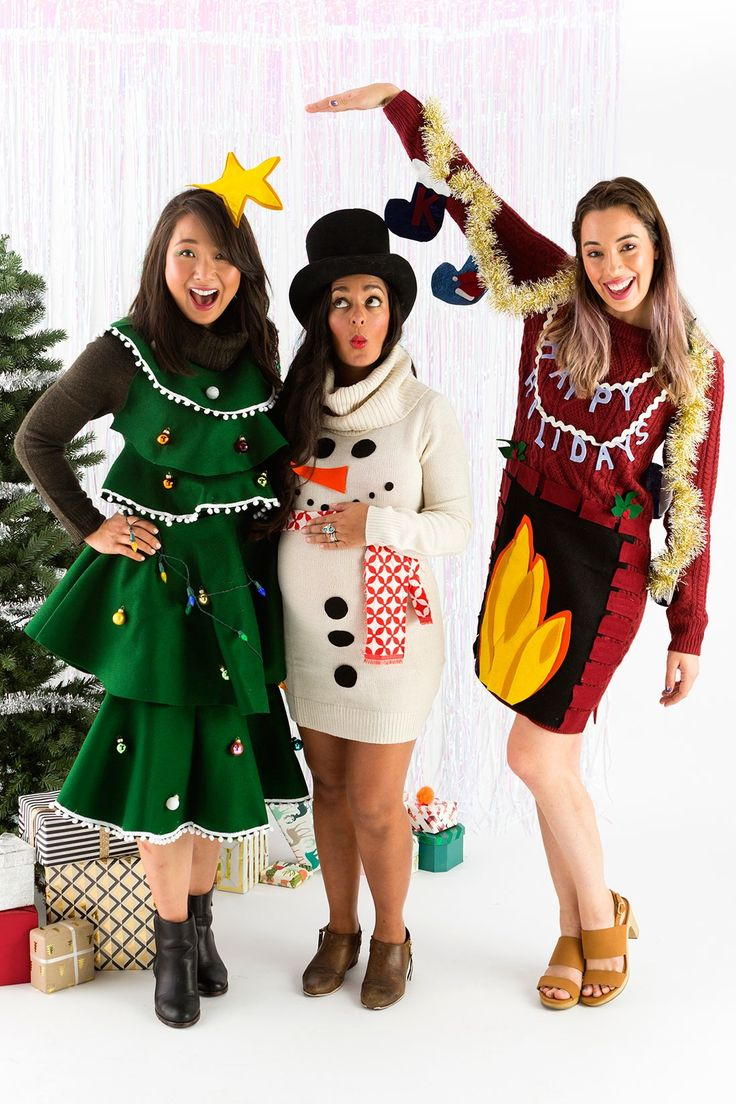 Save this festive DIY to make your own ugly sweater dress for the holidays.