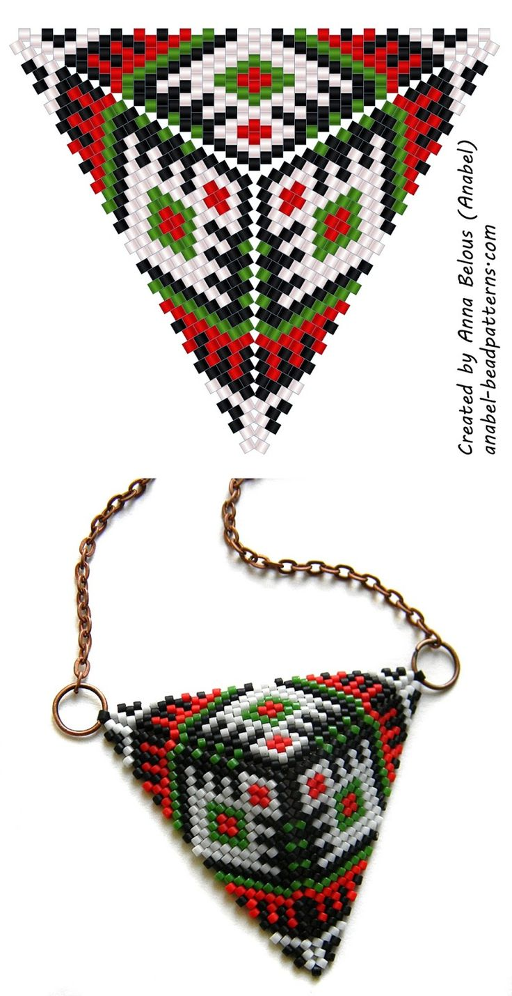 Beaded triangle diagram - mosaic weaving - free peyote triangle pattern