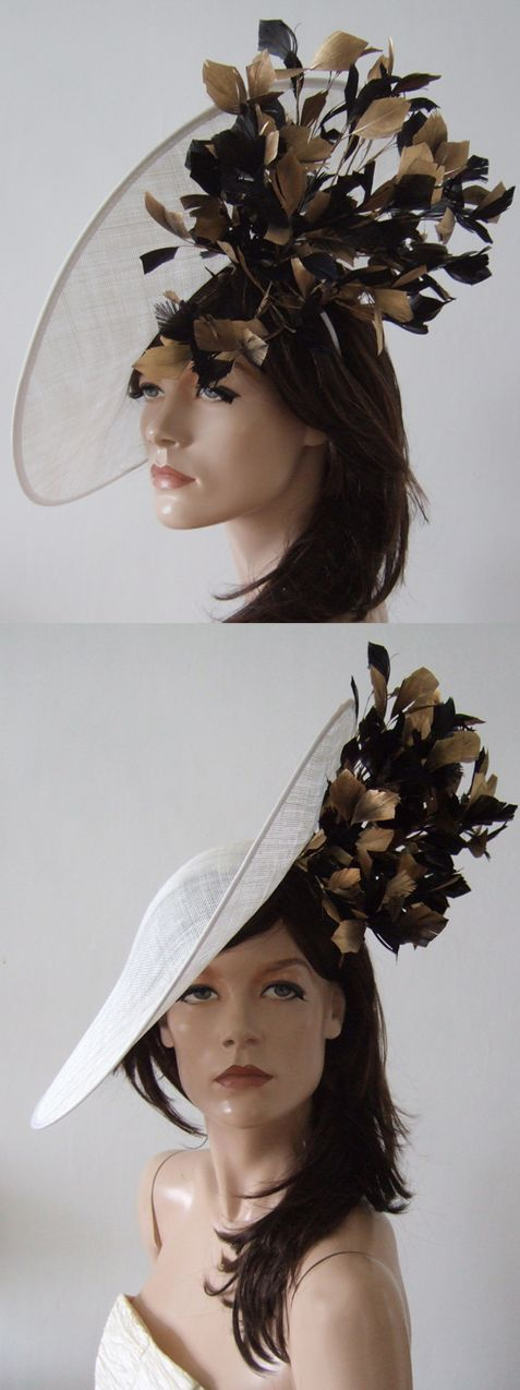 Black White Gold Feather Slice Hat. Perfect Mother of the Bride hat, or day at the races, Ladies Day, Royal Ascot, Epsom Derby, Grand National. Outfits ideas for the races. Hire from www.dress-2-impress.com #designerhats #royalascot #ascotraces #hathire #passion4hats #ascothats #millinery #hats #bighats #ascot #weddings #outfits #bloggerfashion  #racingfashion #kentuckyderby #derbyhats #epsomraces #epsomderby #ladiesday #motherofthebride #motherofthebridehats #goldoutfits #ascotfashion…