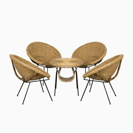 Französische Rattan Sitzgruppe Mit Tisch, 1960er Jetzt Bestellen Unter:  Https://moebel.ladendirekt.de/garten/gartenmoebel/gartenmoebel Set/?uidu003d0b3f1fcc   ...