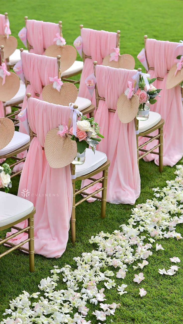 Classic Chiffon Chair Sash Design For Outdoor Spring Wedding Wedding Chair Sashes Di Wedding Chair Sashes Wedding Chair Decorations Wedding Reception Chairs