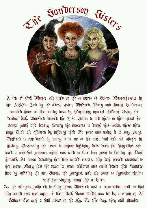 "The Sanderson Sisters - Witches of Salem... Love these witches, my favorite movie when I was little ""Hocus Pocus"""