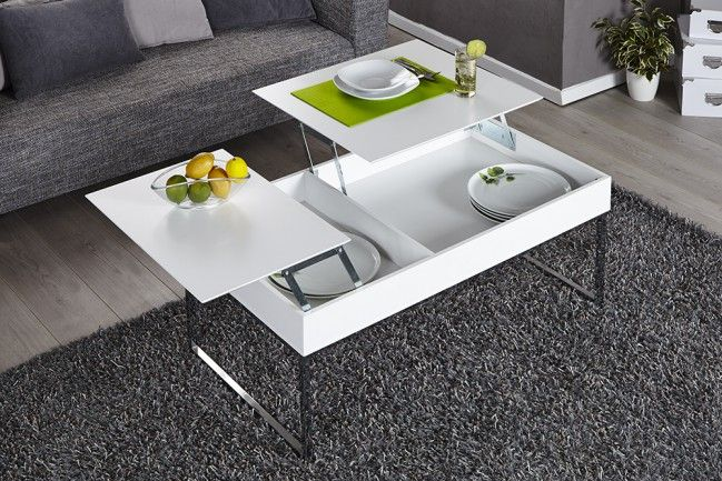 """Funktionaler Design Couchtisch FABRIC weiss Chrom - Der Couchtisch """"FABRIC"""" in edlem Weiss bietet Ihnen mit seinem außergewöhnlichen Funktionsumfang ein Optimum an Luxus. Die Tischplatte lässt sich mi"""