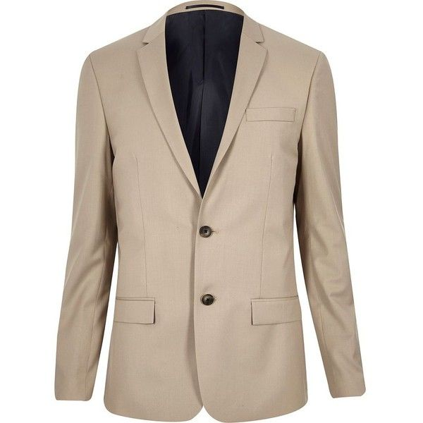 River Island Beige skinny suit jacket (110 CAD) ❤ liked on Polyvore featuring men's fashion, men's clothing, men's suits, stone, suits, mens beige suit, mens skinny fit suits, tall and skinny mens clothing, tall mens clothing and mens skinny suits