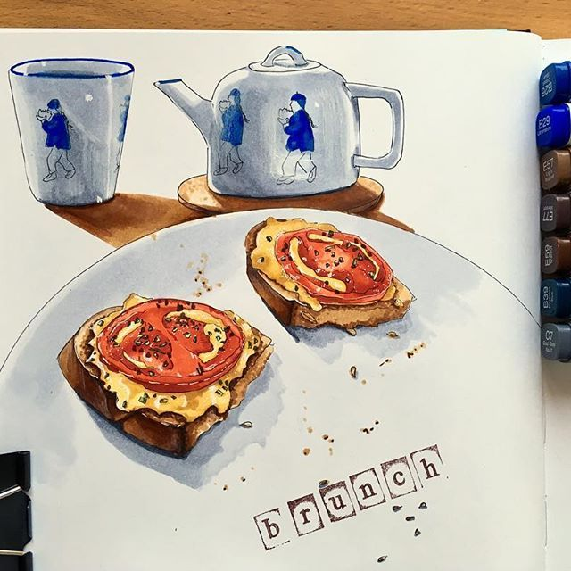 Today I had brunch on my terrace. It was woderful weather (+14!) and delicious brunch. What does artist do before eating his/her meal? Draws it! 😛#sketch #sketchingdaily #meals #sundaysketch #sundaysbrunch #copic #copicmarkers #copicmarkersketch #maxgoodz #markerspro_maxgoodz #cansonpaper #cansonthewall