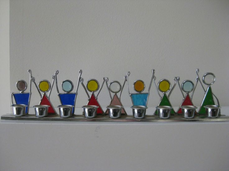 "Stained Glass Child""s Menorah 