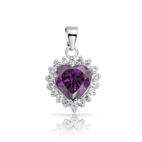 Valentines Day Gifts Bling Jewelry Sterling Silver February Birthstone Amethyst Color CZ Heart Pendant Bling Jewelry. $26.99. Amethyst colored cz heart motif. Chain is not included. Made of 925 sterling silver. Weighs 2.6 grams. Pendant measures 0.7in by 0.4in