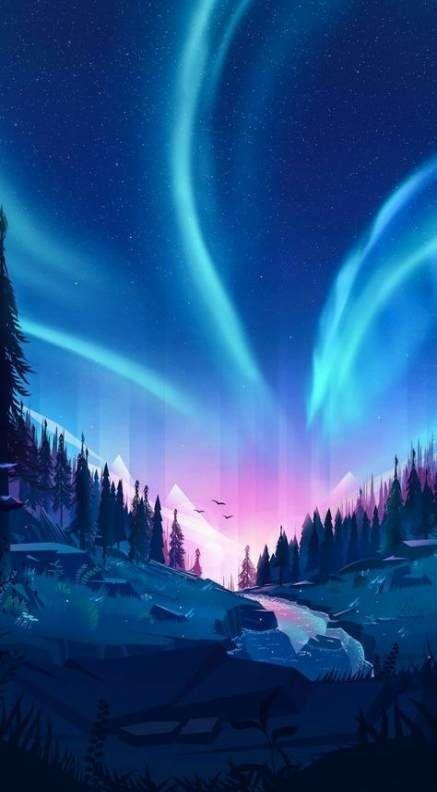 Painting Sky Night Aurora Borealis 32 Ideas