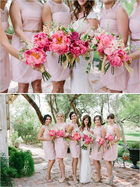 pink bridesmaid bouquets & dresses http://www.weddingchicks.com/2013/10/03/pink-and-gold-wedding-3/