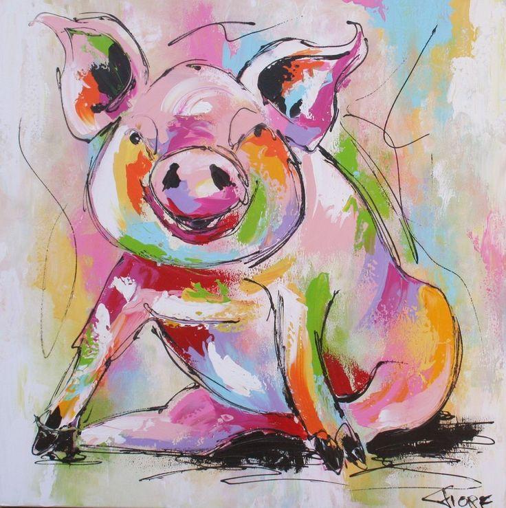 schilderij varken kleurrijk vrolijk modern