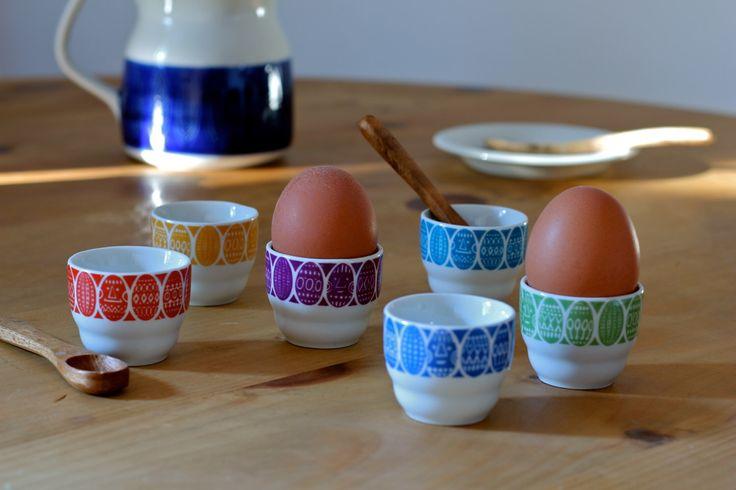 Arabia Finland Kauno Egg Cups Raija Uosikkinen Mid-century Scandinavian Rare Set of 6 by Scandipots on Etsy https://www.etsy.com/uk/listing/288034417/arabia-finland-kauno-egg-cups-raija