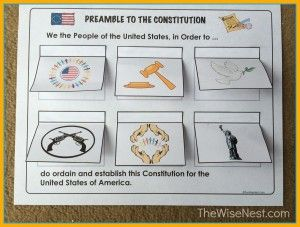 Free printables for aiding with the memorization of the Preamble to the US Constitution. Includes a folder game, an interactive sheet with flaps, picture cards, fill in the blank, and copywork. Landmark History (Boorstin) chapter 10