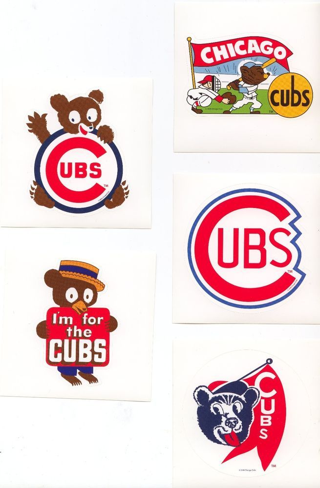 Set of Five (5) Vintage Chicago Cubs Logo Stickers #ChicagoCubs