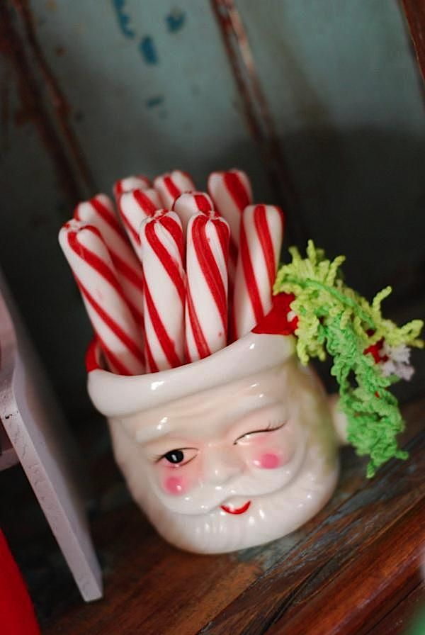 Vintage Santa Cup and Peppermint Sticks. #christmas #candy #decor