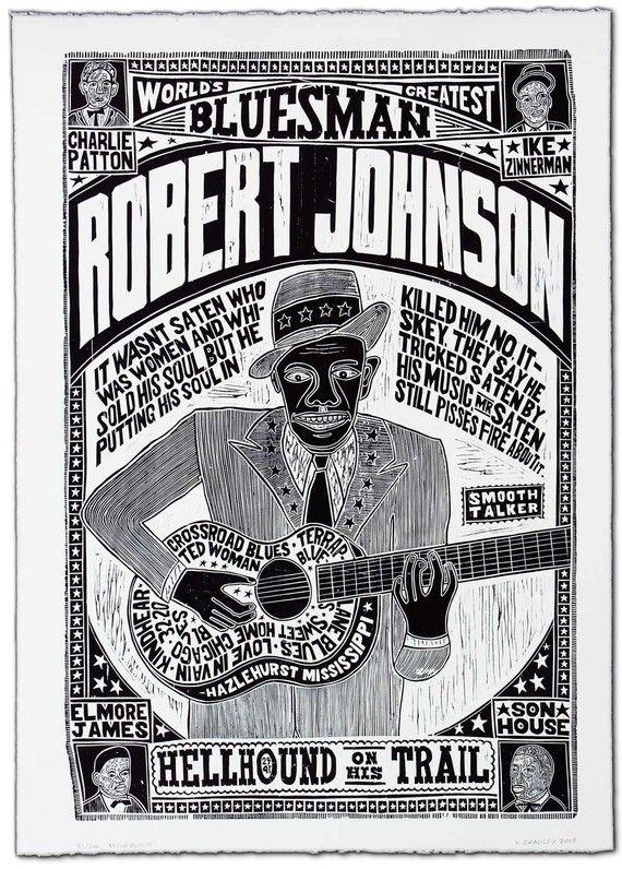 Robert Johnson World's Greatest Bluesman Fine Art Hand Printed Letterpress Wood Block Print by YeeHaw