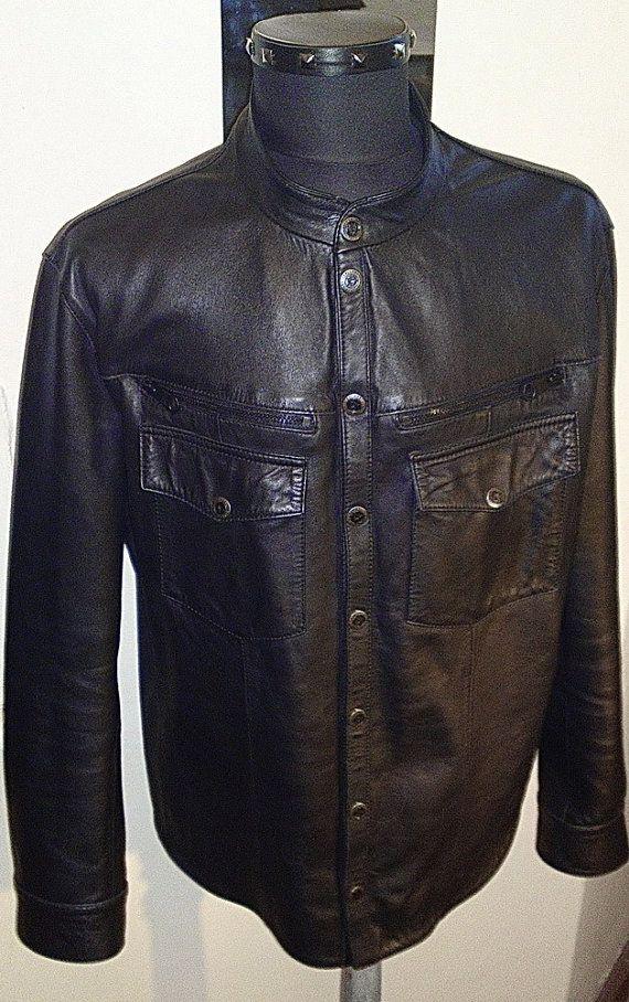 Black Star - men's leather shirt (Free shipping)
