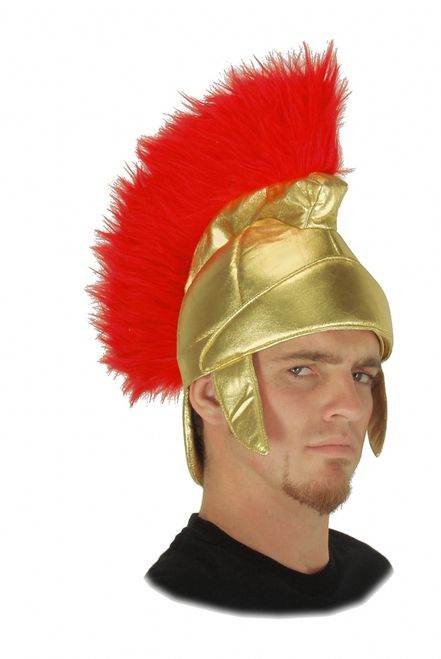 Roman Soldier Costume Hat - This gold lame hat with faux fur crest will be a great addition to your Roman soldier costume this Halloween.This gold lame hat is shaped like a traditional Roman soldier's hat, complete with neck and ear panels. The top of the hat boasts a red faux fur crest that runs from the front to back of the helmet. #roman #yyc #costume #helmet