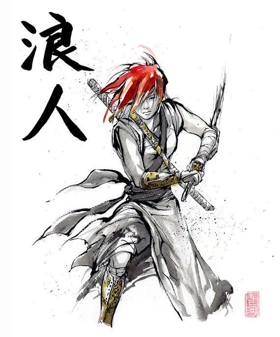 Print 8x10 RONIN Girl Drawing Sword Japanese Calligraphy By MyCKs 12