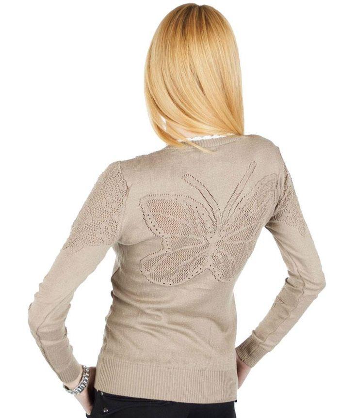 Pulover Dama Butterfly  Pulover dama stil cardigan. Se inchide cu nasturi si poate fi purtat cu usurinta atat in sezonul rece cat si in cel cald. Model modern, cu insertie de broderie pe spate si maneci.     Lungime: 59cm  Latime talie: 37cm  Compozitie: 90%Acryl, 10%Elasten