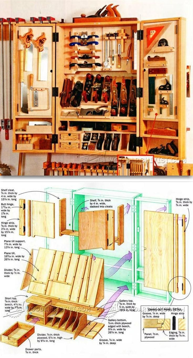 Hand Tool Wall Cabinet Plans - Workshop Solutions Plans, Tips and Tricks | WoodArchivist.com