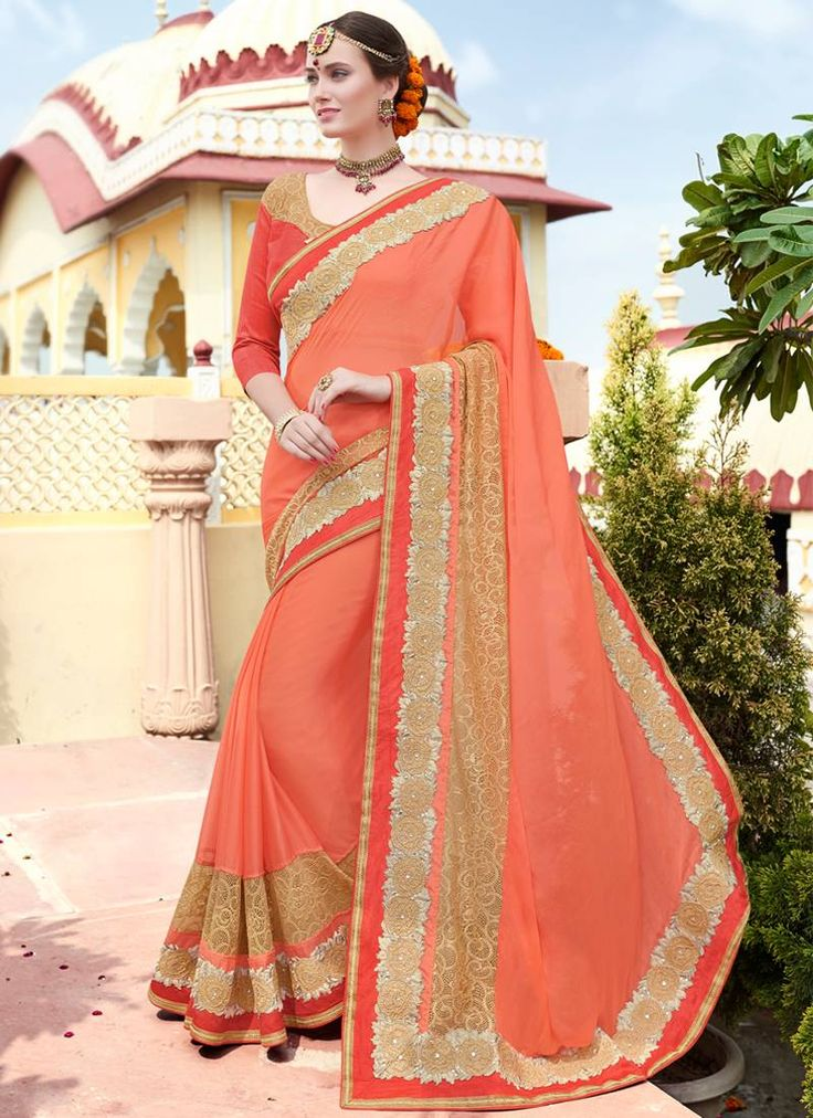 Ravishing Orange Coloured Chiffon Stone Work Indian Designer Saree At Best Price By Uttamvastra - Online Shopping For Women