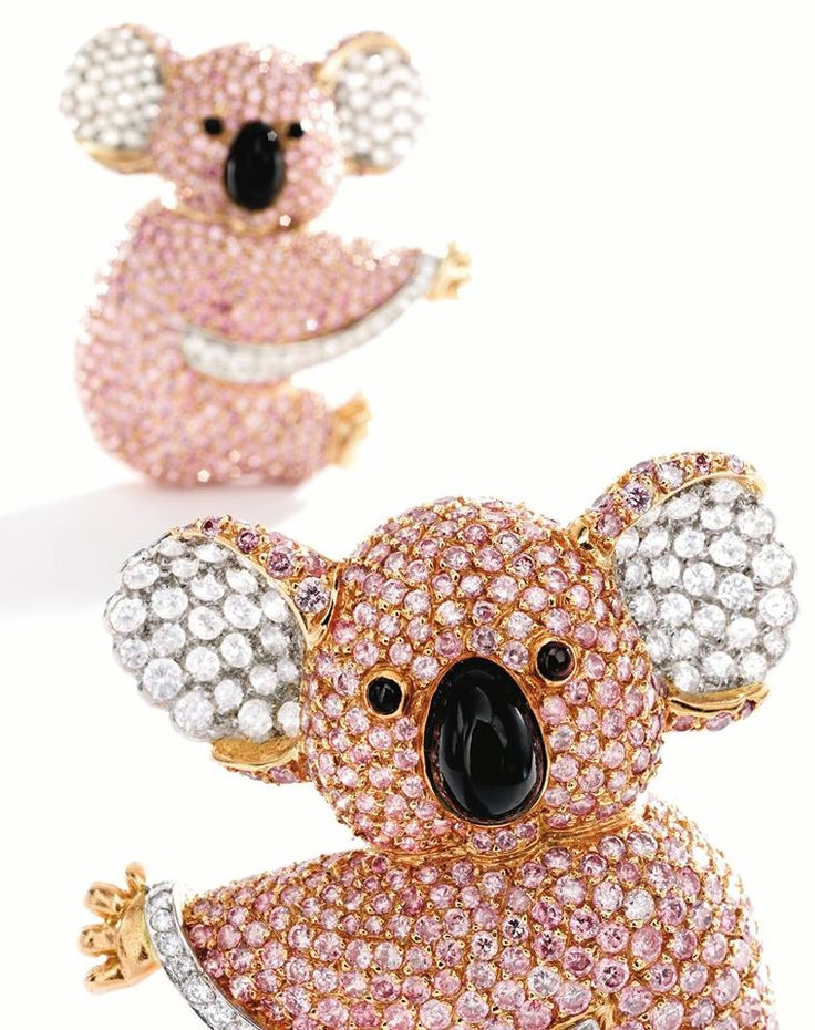 Pink and white diamond koala brooch