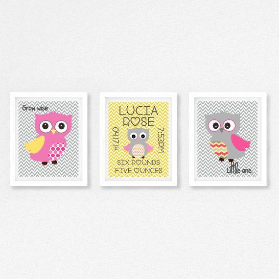 Geboorte aankondiging Wall Art nieuwe Baby meisje Print, roze en gele kwekerij, gepersonaliseerd cadeau voor nieuwe Baby, Baby Girl kinderkamer, Decor van de kwekerij van de uil
