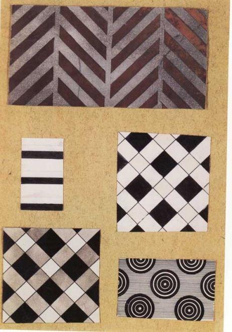 Liubov Popova Textile Design, watercolour on paper cut-outs