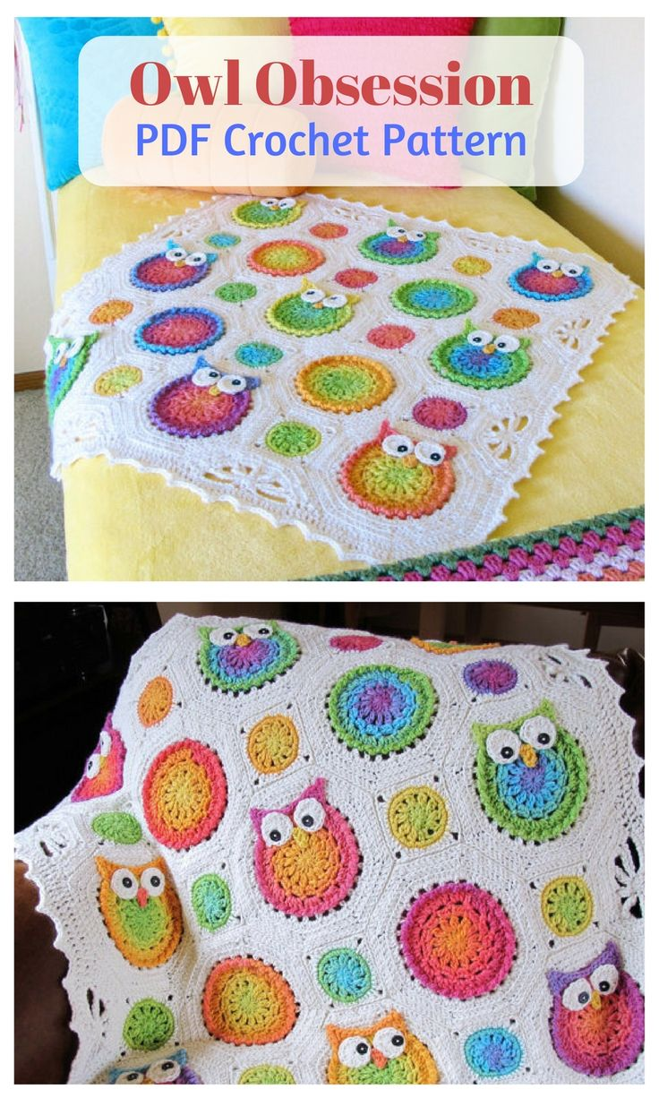 Sweet and silly owls make a lovely blanket for a special someone. Blanket pictured is baby-sized, but you can make it any size you like! #crochetpattern #owl #crochetblanket #afflink