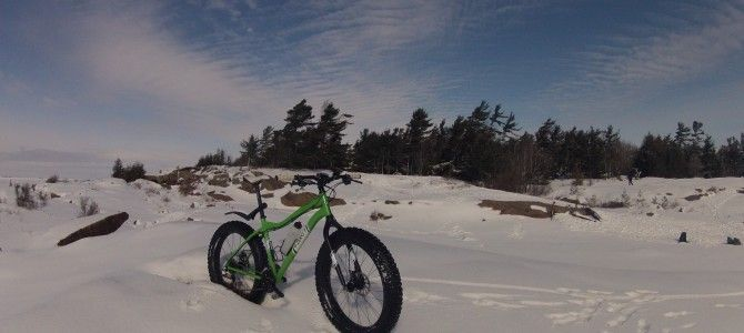 Fat Biking on the Big Sound off the rugged fitness trail in Parry Sound #fatbike #bicycle