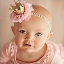 Bebé niña de las flores princesa venda de la corona for recién nacidos fotografía accesorios para el cabello de los niños elásticos pelo pista band wrap adornos(China (Mainland))