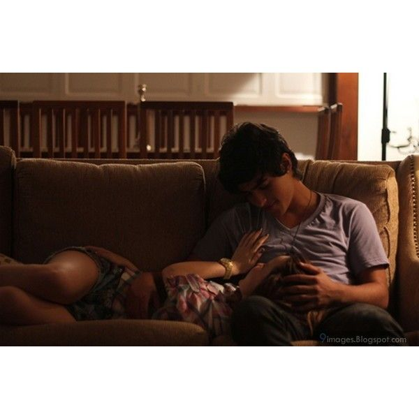 Cute teen couple in love on sofa romance ❤ liked on Polyvore featuring couples, people and love