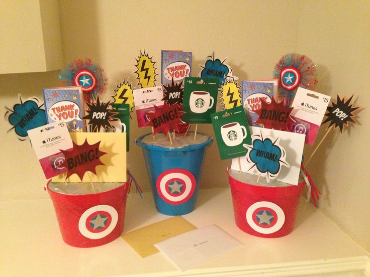 Teacher Appreciation superhero gift card bouquet