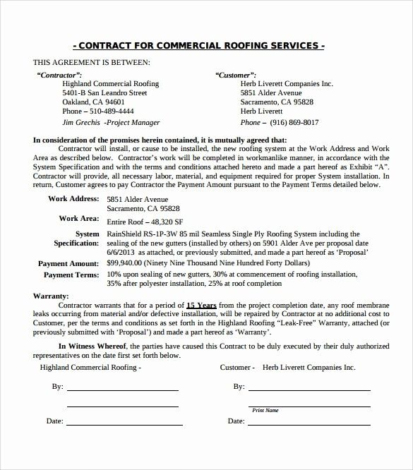 Free Residential Roofing Contract Template New Roofing Contract Template 9 Download Documents In Pdf In 2020 Roofing Contract Contract Template Proposal Templates