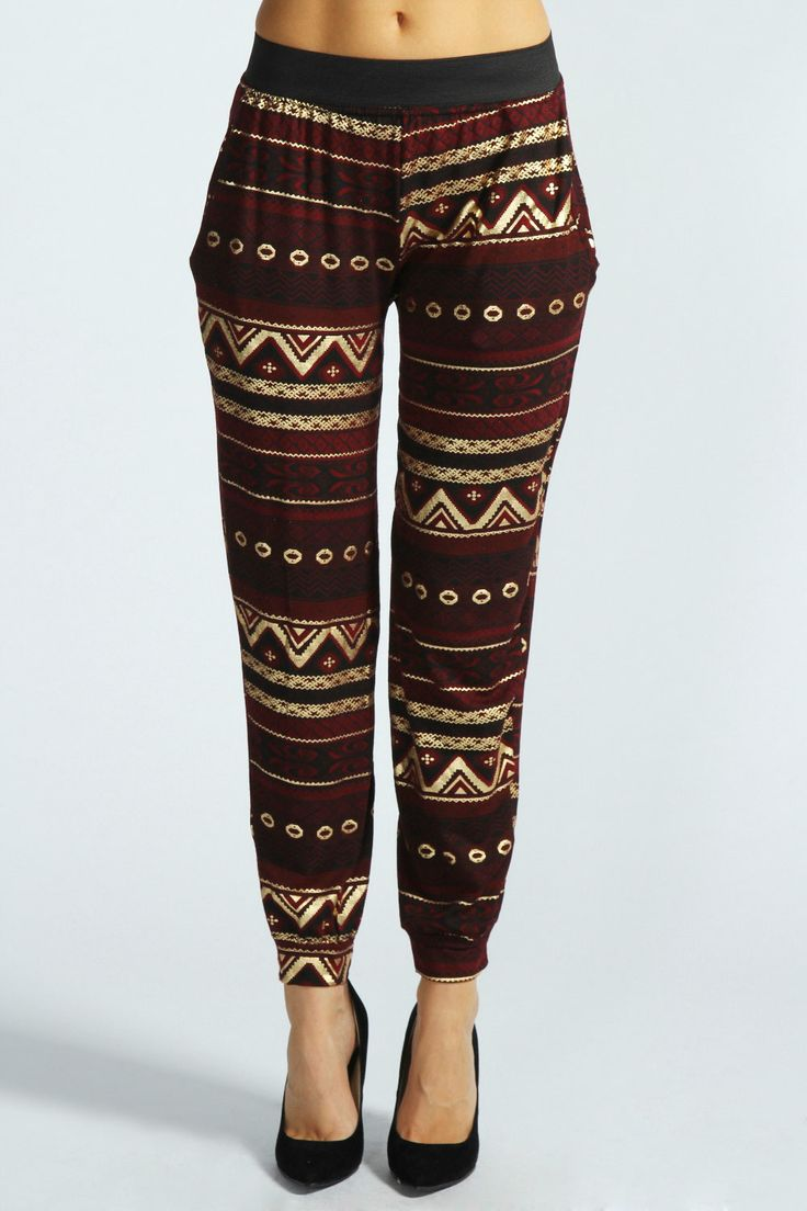aztec print bordeux pants