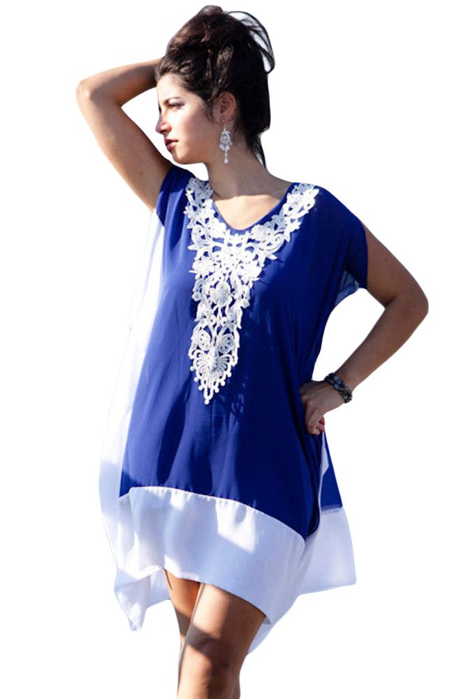 Chicloth Blue White Chiffon Colorblock Crochet Applique Kaftan