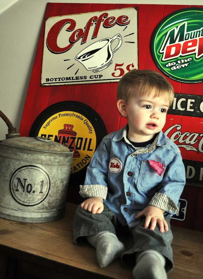 Vintage Garage Themed 1st Birthday Party With SUCH CUTE Ideas Via Karas Kara Allen