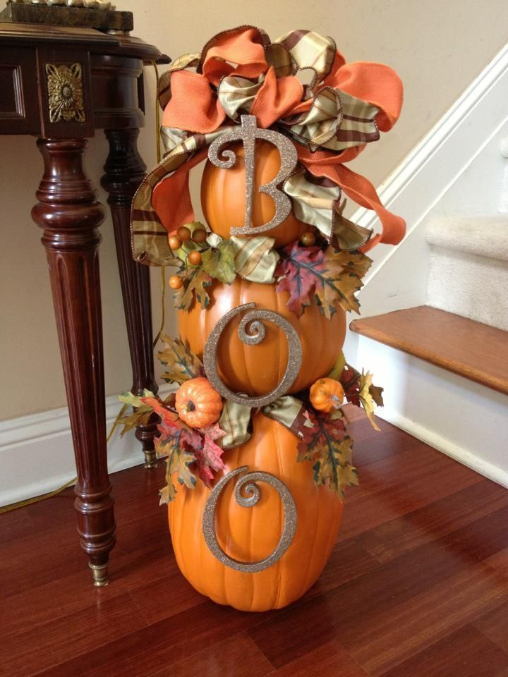 "Fall Topiary - Use 'hook n loop' tape for ""BOO"", remove after Halloween and attach Autumn-themed 'hook n loop' decorations. Then you can keep through Thanksgiving. If you use faux pumpkins, it can be stored for next year. Great for your porch as well!"