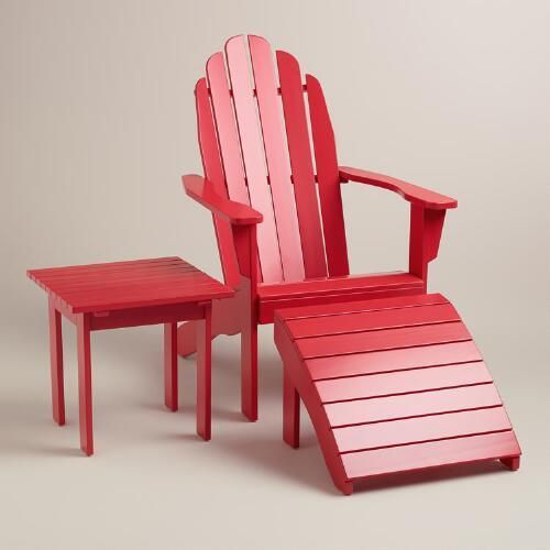 Thinking of putting this on my sun porch with a cushion. Found it at WorldMarket.com: Barbados Cherry Adirondack Collection