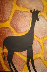 Dierenpatroon als achtergrond. Het dier als silhouette ervoor.