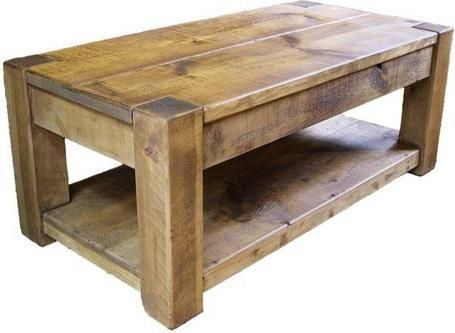 """SOLID WOODEN CHUNKY STYLE 48"""" COFFEE TABLE SHELF RUSTIC PLANK PINE FURNITURE"""