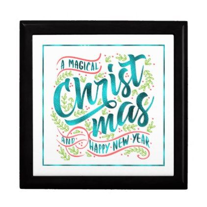 Magical Christmas Typography Teal ID441 Jewelry Box - Xmas ChristmasEve Christmas Eve Christmas merry xmas family kids gifts holidays Santa