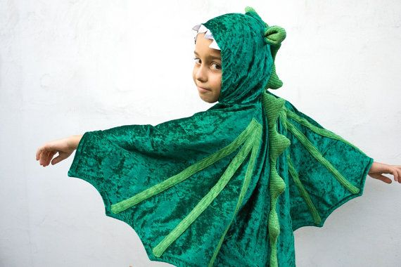 Dragon Costume, Kid Costume, Party Fairy Tale Dragon Green Costume or Halloween Costume with Wings for Boys or Girls, oht. $55.00, via Etsy.
