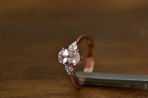 5x7mm Oval Morganite Diamonds 14K Rose gold Engagement Wedding Ring   YourGem - Jewelry on ArtFire