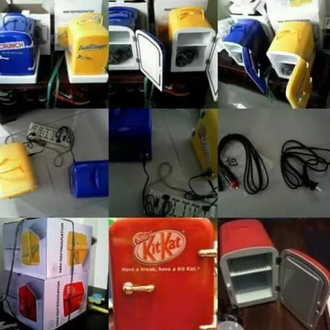 Small Fridge (w/box) for sale! - AVAILABLE COLOR: RED ( Yellow & Blue are not available yet ) NOTE : - not RECHARGEABLE . ( use power chord ) -Can Be used Inside the Car, House, Dorm, Office, Etc... - Lightweight - Best for canned softdrinks, chocolates, other food containers - Best for carrying medicines that needs to refrigerated Power Source - 12V - 220V - 240V 15 TO 20 DEGREE - COOL Approx:12in 6L BY 355 ML  Sure buyers ( sm north, mega mall, sm fairview ) #09087097216