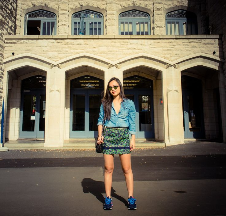 Denim+Vintage printed Skirt  Outfit of the day fashion streetstyle