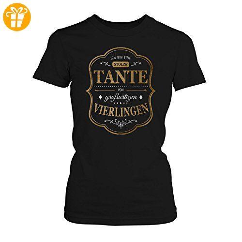 Fashionalarm Damen T-Shirt - Ich bin eine stolze Tante von großartigen Vierlingen   Fun Shirt mit Spruch als Geburtstag Geschenk Idee für Patentante, Farbe:schwarz;Größe:3XL (*Partner-Link)