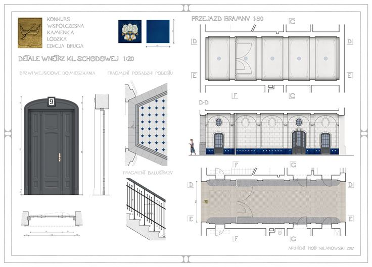 Joint interiors (staircase outfitting; gate passageway design) drawing for the Contemporary Tenement House design competition - 2nd edition, organised by the City of Łódź (2017), 3rd prize award; designed by architect Piotr Kilanowski