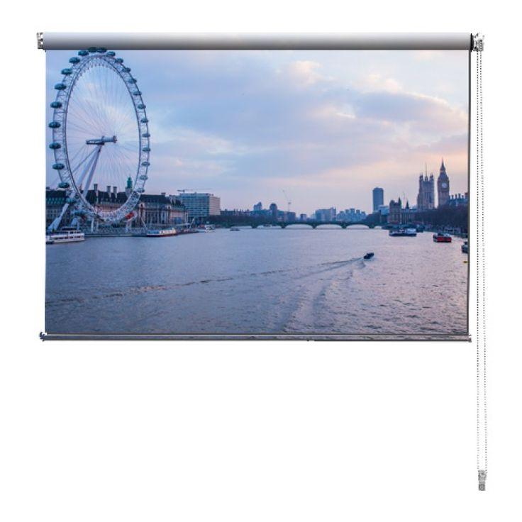 Rolgordijn Londen | De rolgordijnen van YouPri zijn iets heel bijzonders! Maak keuze uit een verduisterend of een lichtdoorlatend rolgordijn. Inclusief ophangmechanisme voor wand of plafond! #rolgordijn #gordijn #lichtdoorlatend #verduisterend #goedkoop #voordelig #polyester #london #londen #water #rivier #reuzenrad #paars #roze #engeland #brits #engels #grootbrittannie #uk #verenigdkoningkrijk #brits #brexit